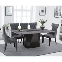 Mario 180cm Light Grey Marble Dining Table with Freya Faux Leather Dining Chairs - Grey, 6 Chairs
