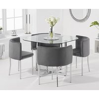 Product photograph showing Ex-display Algarve Glass Stowaway Dining Table With Grey Velvet High Back Stools