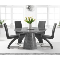 Ravello 130cm Round Grey Marble Dining Table with Hampstead Chairs - Grey, 4 Chairs