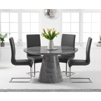 Ravello 130cm Round Grey Marble Dining Table with Malaga Chairs - Grey, 4 Chairs