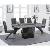 Mario 180cm Light Grey Marble Dining Table with Hampstead Z Chairs - Black, 6 Chairs