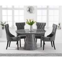 Ravello 130cm Round Grey Marble Dining Table with Freya Chairs - Grey, 4 Chairs