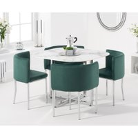 Algarve White Marble Stowaway Dining Table with Green Velvet High Back Stools - Green, 4 Chairs