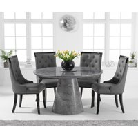 Ravello 130cm Round Grey Marble Dining Table with Angelica Chairs - Cream, 4 Chairs