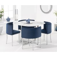 Algarve White Marble Stowaway Dining Table with Blue Velvet High Back Stools - Blue, 4 Chairs