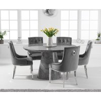 Ravello 130cm Round Grey Marble Dining Table with Talia Velvet Chairs - Grey, 4 Chairs