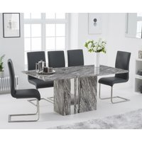 Alicia 180cm Grey Marble Dining Table with Malaga Chairs - Ivory, 4 Chairs