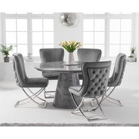 Ravello 130cm Round Grey Marble Dining Table with Giovanni Velvet Chairs - Grey, 4 Chairs