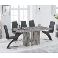 Alicia 180cm Grey Marble Dining Table with Hampstead Z Dining Chairs - Ivory, 4 Chairs