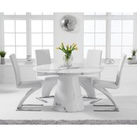 Ravello 130cm Round White Marble Dining Table with Hampstead Chairs - Grey, 4 Chairs