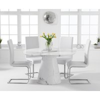 Ravello 130cm Round White Marble Dining Table with Malaga Chairs - Black, 4 Chairs