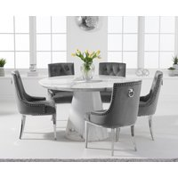 Ravello 130cm Round White Marble Dining Table with Talia Velvet Chairs - Blue, 4 Chairs