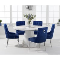 Ravello 130cm Round White Marble Dining Table with Talia Velvet Chairs - Grey, 4 Chairs