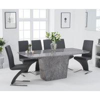 Product photograph showing Francesca 200cm Light Grey Marble Dining Table With Hampstead Z Chairs - Black 6 Chairs