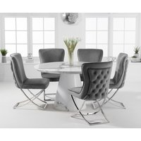 Ravello 130cm Round White Marble Dining Table with Giovanni Velvet Chairs - Grey, 4 Chairs