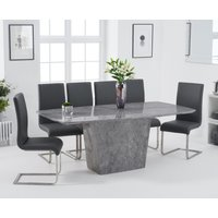 Product photograph showing Francesca 200cm Light Grey Marble Dining Table With Malaga Chairs