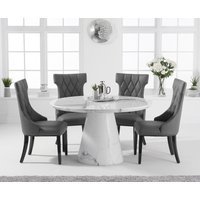 Ravello 130cm Round White Marble Dining Table with Freya Chairs - Cream, 4 Chairs