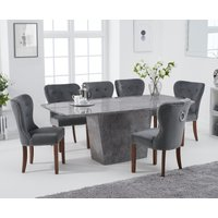 Francesca 200cm Grey Marble Dining Table with Knightsbridge Grey Plush Chairs - Grey, 6 Chairs
