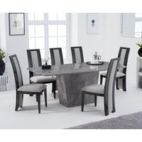 Product photograph showing Francesca 200cm Light Grey Marble Dining Table With Raphael Chairs - Black 6 Chairs