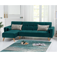 Product photograph showing Ex-display Ana Sofa Bed Left Facing Chaise In Green Velvet