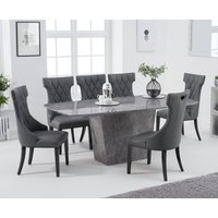 Francesca 200cm Grey Marble Dining Table with Freya Chairs - Cream, 6 Chairs