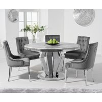 Product photograph showing Viscount 130cm Round Marble Dining Table With Talia Velvet Chairs - Blue 4 Chairs