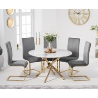 Nixon 120cm Round White Marble Table with Malaga Velvet Chairs - Blue, 4 Chairs