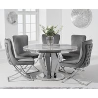 Viscount 130cm Round Marble Dining Table with Giovanni Velvet Chairs - Grey, 4 Chairs