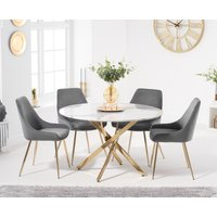 Nixon 120cm Round White Marble Table with Fern Velvet Chairs - Grey, 4 Chairs