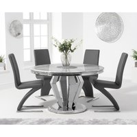 Viscount 130cm Round Marble Dining Table with Hampstead Z Chairs - Grey, 4 Chairs