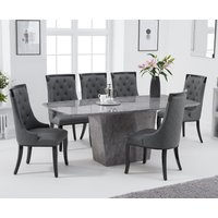 Francesca 200cm Grey Marble Dining Table with Angelica Chairs - Grey, 6 Chairs