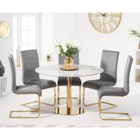 Newton 120cm Round White Table with Malaga Velvet Chairs - Blue, 4 Chairs