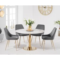 Newton 120cm Round White Table with Fern Velvet Chairs - Grey, 4 Chairs
