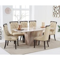 Francesca 200cm Brown Marble Dining Table with Angelica Chairs - Cream, 6 Chairs