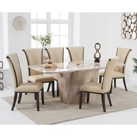 Francesca 200cm Brown Marble Dining Table with Alpine Chairs - Cream, 6 Chairs
