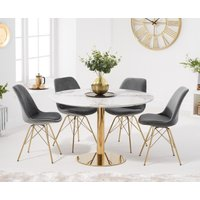 Newton 120cm Round White Table with Celine Velvet Chairs - Blue, 4 Chairs