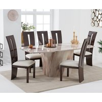 Francesca 200cm Brown Marble Dining Table with Verbier Chairs - Black, 6 Chairs