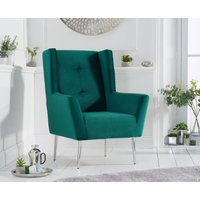 Product photograph showing Brooke Green Velvet Armchair