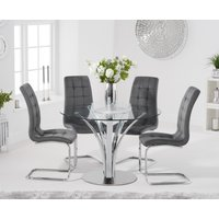 Aria 110cm Glass Dining Table with Lorin Velvet Chairs - Grey, 4 Chairs