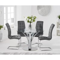 Product photograph showing Ex-display Aria 110cm Glass Dining Table With 4 Grey Lorin Velvet Chairs