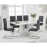 Alicia 180cm White Marble Dining Table with Malaga Chairs - Grey, 4 Chairs