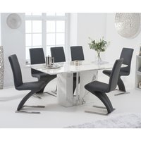 Alicia 180cm White Marble Dining Table with Hampstead Z Dining Chairs - Ivory, 4 Chairs