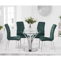 Product photograph showing Aria 110cm Glass Dining Table With Calgary Velvet Chairs - Blue 4 Chairs