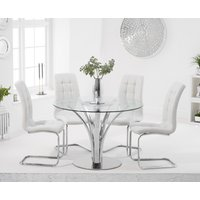 Aria 110cm Glass Dining Table with Lorin Faux Leather Chairs - Grey, 4 Chairs
