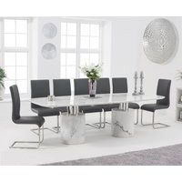Antonio 260cm White Marble Dining Table with Malaga Chairs - Black, 6 Chairs