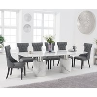 Antonio 260cm White Marble Dining Table with Freya Chairs - Grey, 6 Chairs