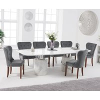 Product photograph showing Antonio 260cm White Marble Dining Table With Knightsbridge Chairs - Grey 6 Chairs