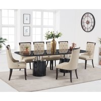 Antonio 260cm Black Marble Dining Table with Angelica Chairs - Grey, 6 Chairs