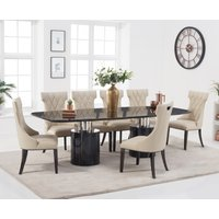 Antonio 260cm Black Marble Dining Table with Freya Chairs - Cream, 6 Chairs