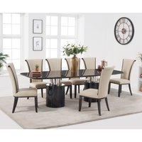 Product photograph showing Antonio 260cm Black Marble Dining Table With Alpine Chairs - Brown 6 Chairs